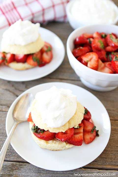 Balsamic Strawberry Basil Ricotta Shortcakes on twopeasandtheirpod.com
