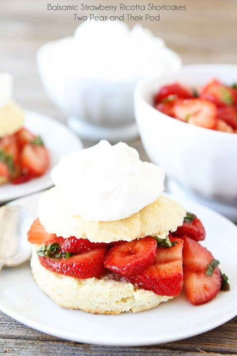 Balsamic Strawberry Ricotta Shortcakes on twopeasandtheirpod.com