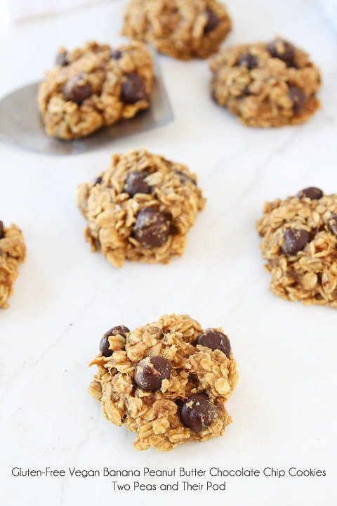 Gluten-Free Vegan Banana Peanut Butter Chocolate Chip Cookies on twopeasandtheirpod.com