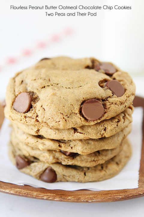 Flourless Peanut Butter Chocolate Chip Oatmeal Cookies on twopeasandtheirpod.com