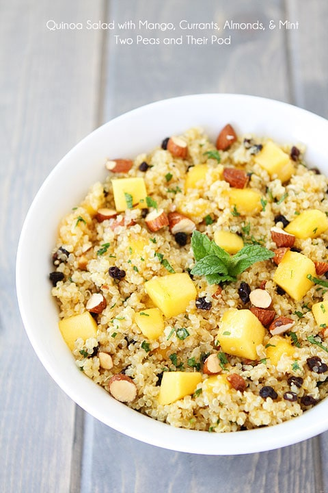 Quinoa Salad with Mango, Currants, Almonds, & Mint Recipe on twopeasandtheirpod.com