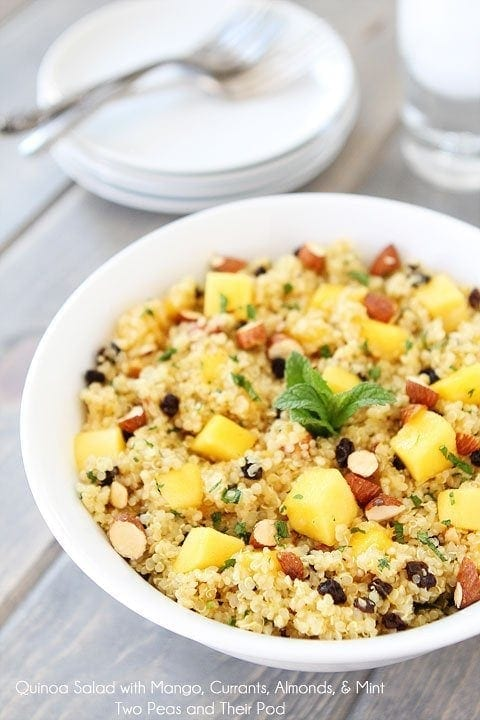 Quinoa Salad with Mango, Currants, Almonds, & Mint on twopeasandtheirpod.com