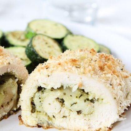 Stuffed Chicken Breast Recipe with Pesto and Mozzarella