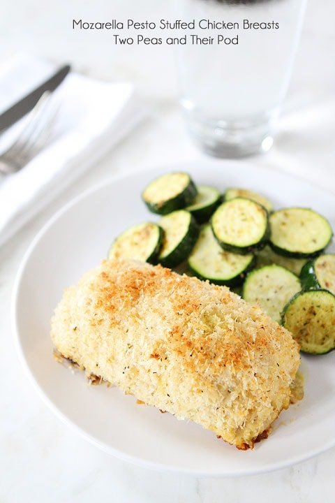 Mozzarella Pesto Stuffed Chicken Breasts Recipe served with zucchini