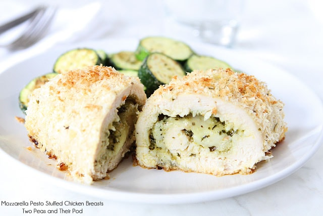 Pesto Stuffed Chicken Breasts Recipe with Mozzarella Cheese