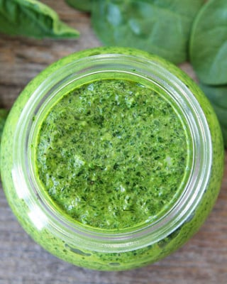 Basil pesto in jar made at home