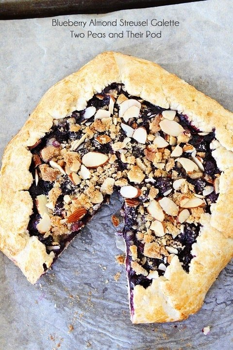 Blueberry Almond Streusel Galette Recipe on twopeasandtheirpod.com My favorite galette recipe!