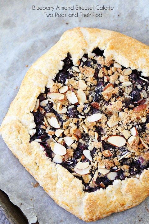 Blueberry Almond Streusel Galette Recipe on twopeasandtheirpod.com A simple dessert for summer!
