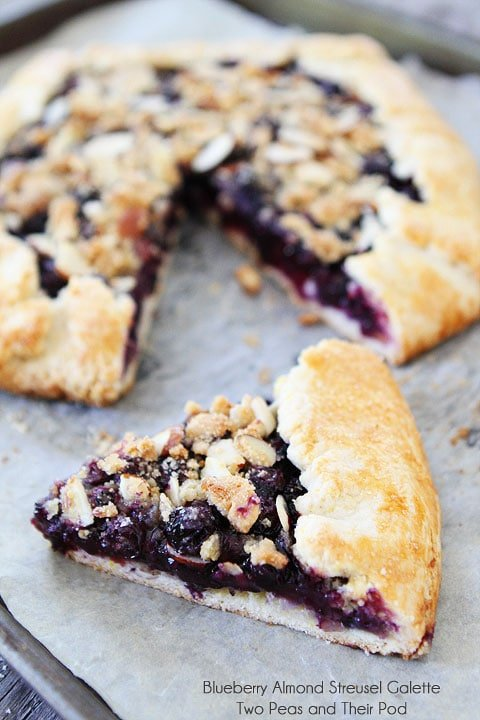 Blueberry Almond Streusel Galette on twopeasandtheirpod.com #recipe