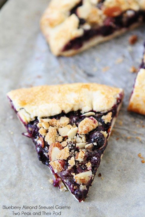 Blueberry Almond Streusel Galette on twopeasandtheirpod.com A rustic summer dessert that everyone will love!