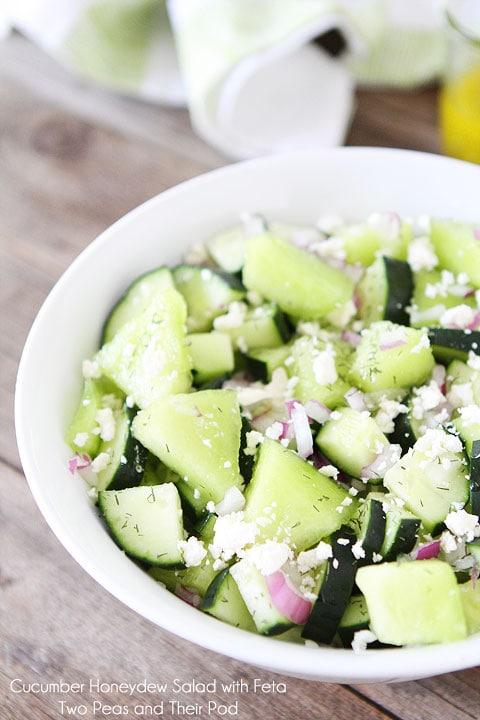Cucumber Honeydew Salad with Feta on twopeasandtheirpod.com