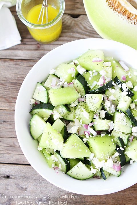 Cucumber Honeydew Salad with Feta Cheese on twopeasandtheirpod.com