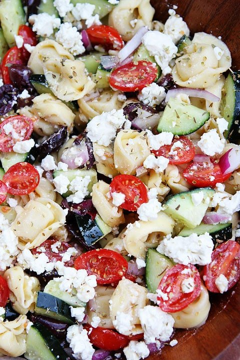 Close up of Tortellini Pasta Salad with feta, cucumber, olive and tomato