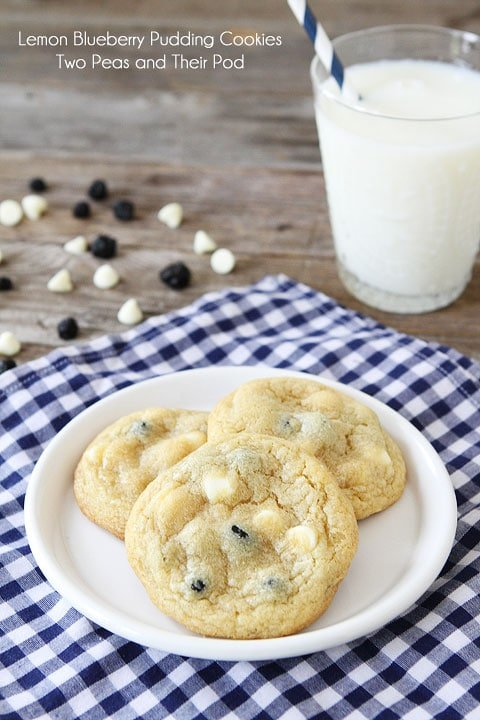 Lemon Blueberry Pudding Cookie Recipe on twopeasandtheirpod.com