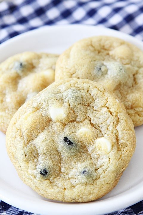 Lemon Blueberry Pudding Cookies on twopeasandtheirpod.com