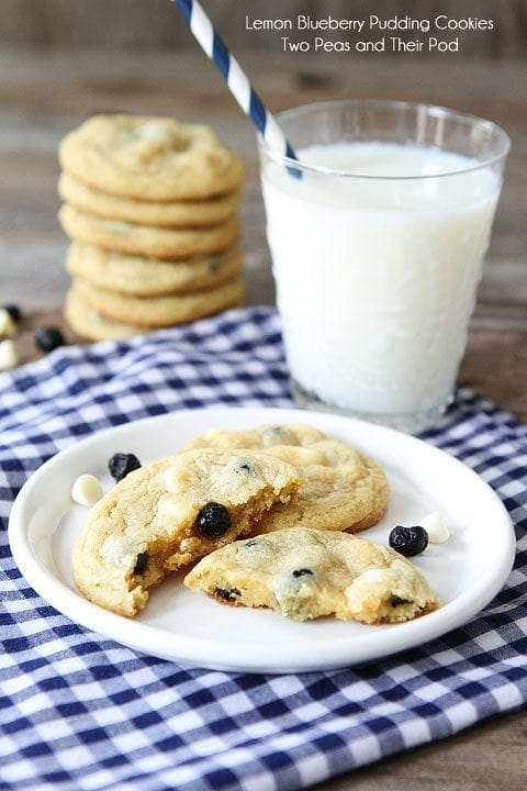 Lemon Blueberry Pudding Cookie Recipe on twopeasandtheirpod.com Soft lemon cookies with dried blueberries and white chocolate chips!