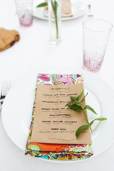 Dinner Party Menu on Brown Paper Bags on twopeasandtheirpod.com
