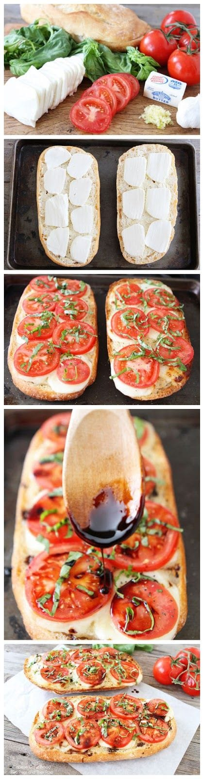 Caprese Garlic Bread Recipe on twopeasandtheirpod.com The BEST garlic bread recipe!