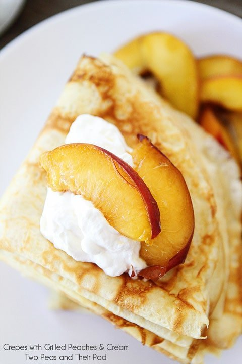 Crepes with Grilled Peaches & Cream Recipe on twopeasandtheirpod.com Perfect summer treat!
