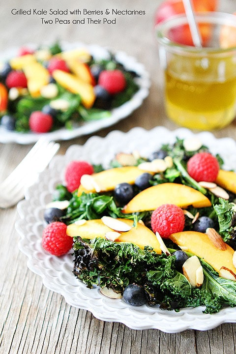 Grilled Kale Salad with Berries & Nectarines Recipe on twopeasandtheirpod.com Grilling kale makes this salad extra special!