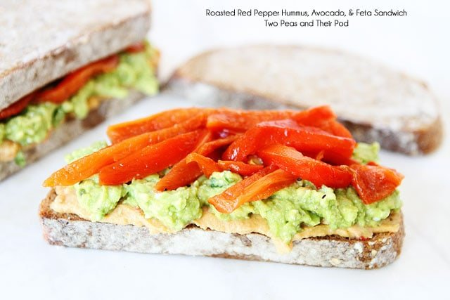 Hummus avocado feta sandwich recipe hummus sandwich for Roasted red peppers hummus