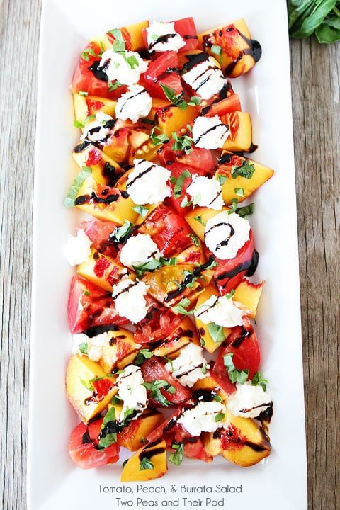 Tomato, Peach, & Burrata Salad Recipe on twopeasandtheirpod.com Only 5 ingredients needed to make this gorgeous summer salad!