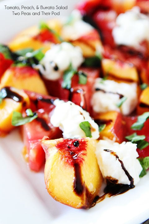 Heirloom Tomato, Peach, & Burrata Cheese Salad Recipe on twopeasandtheirpod.com