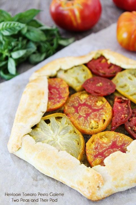 Heirloom Tomato Pesto Galette Recipe on twopeasandtheirpod.com