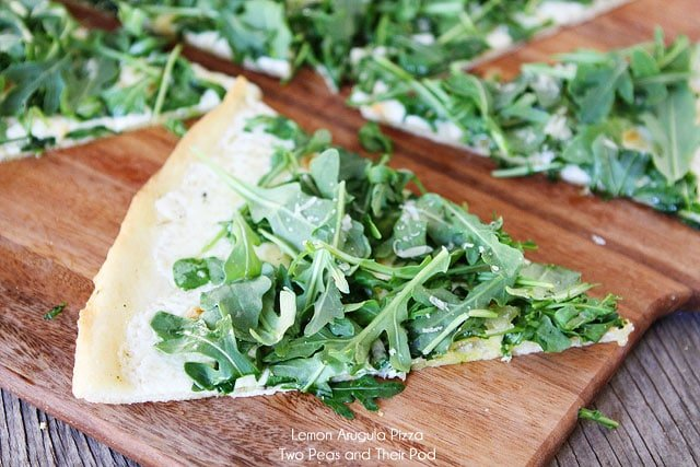 Lemon Arugula Pizza with Mozzarella and Parmesan Cheese on twopeasandtheirpod.com