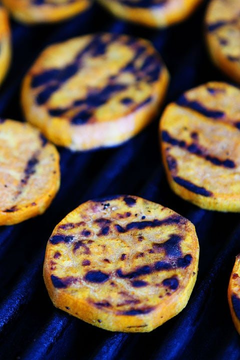 sweet potatoes on grill