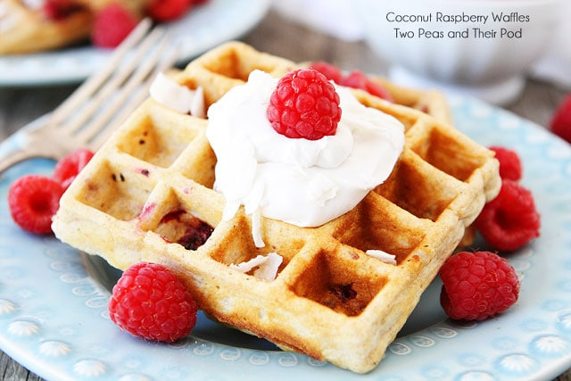 Coconut Raspberry Waffles with Coconut Whipped Cream Recipe on twopeasandtheirpod.com #recipe