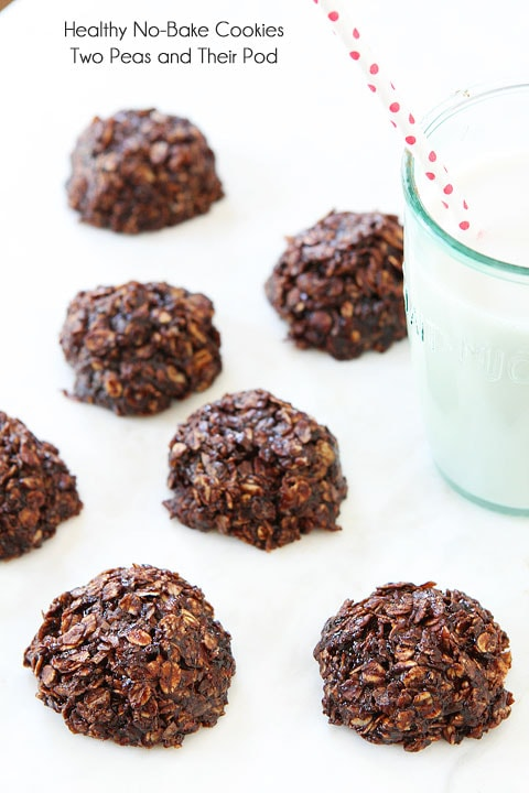 Healthy No-Bake Cookie Recipe on twopeasandtheirpod.com