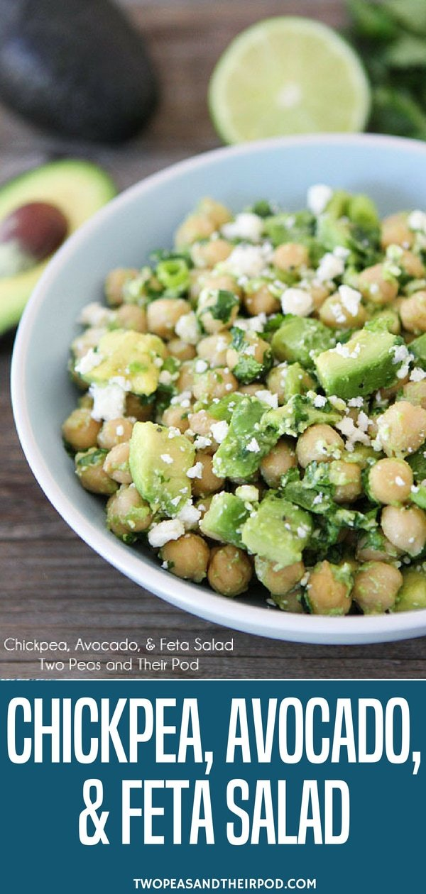 This healthy Chickpea, Avocado, & Feta Salad only takes 5 minutes to make. It's perfect for a quick lunch, dinner, or snack! #chickpea #salad #vegetarian #glutenfree Visit twopeasandtheirpod.com for more simple, fresh, and family friendly meals.