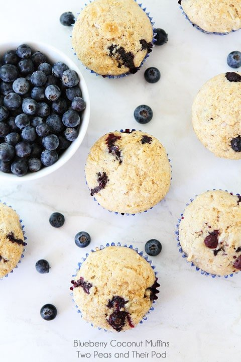 Easy Blueberry Coconut Muffins on twopeasandtheirpod.com
