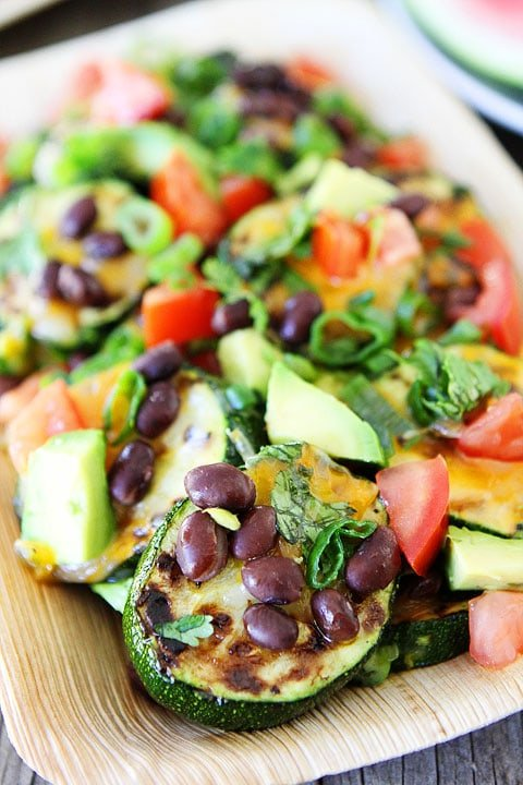 Grilled Zucchini Nachos Recipe on twopeasandtheirpod.com #recipe #zucchini