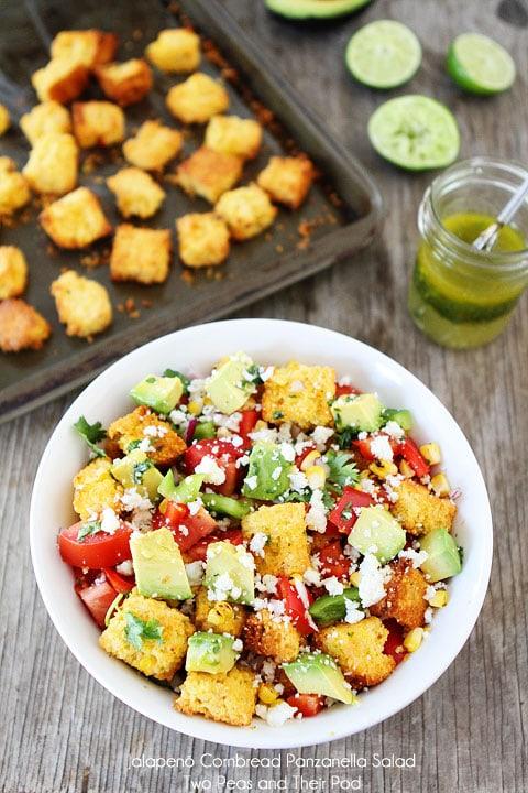 Jalapeño Cornbread Panzanella Salad Recipe on twopeasandtheirpod.com A twist on traditional panzanella salad!