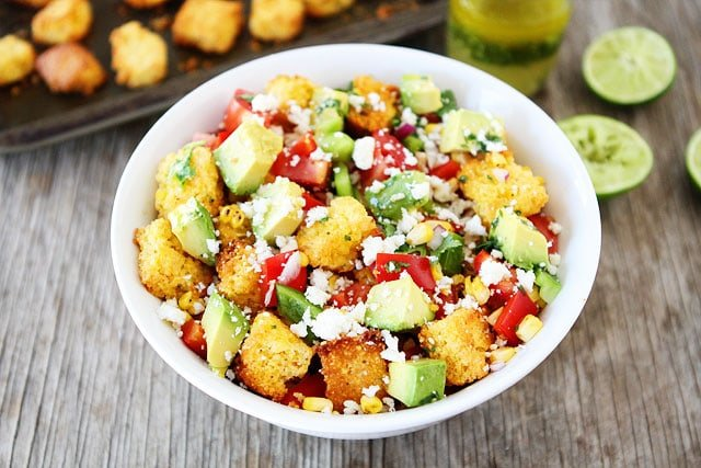 Jalapeño Cornbread Panzanella Salad Recipe on twopeasandtheirpod.com This salad is full of flavor!