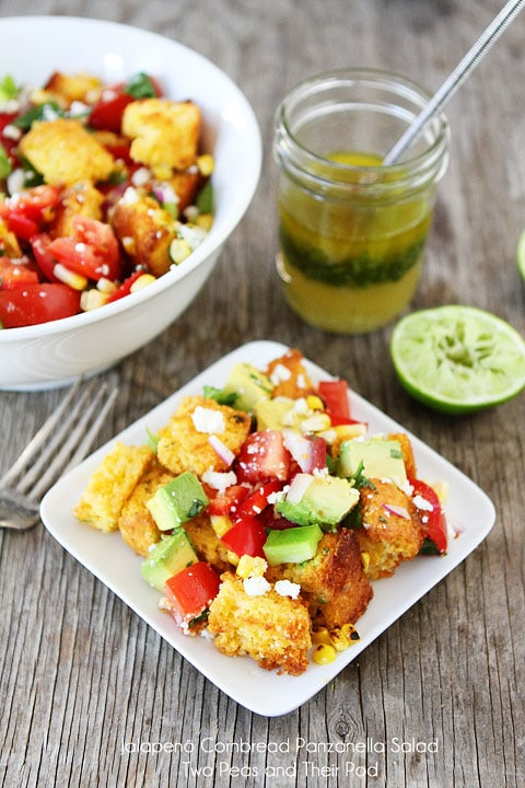 Jalapeño Cornbread Panzanella Salad on twopeasandtheirpod.com #recipe