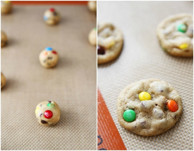 Mini M&M's Chocolate Chip Cookie Recipe on twopeasandtheirpod.com