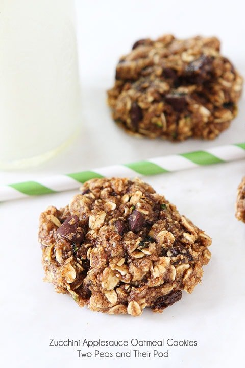 Zucchini Applesauce Oatmeal Cookie Recipe on twopeasandtheirpod.com No butter or oil!
