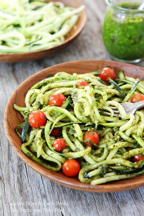 Zucchini Pasta tossed with Pesto in wood serving bowl