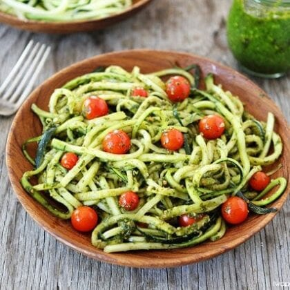 Zucchini noodles tossed in pesto sauce