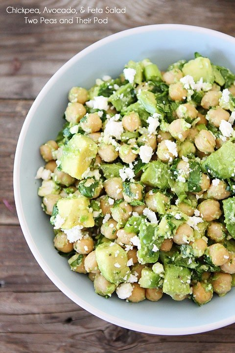 Easy Chickpea, Avocado, & Feta Salad Recipe on twopeasandtheirpod.com Make this healthy salad in 5 minutes!