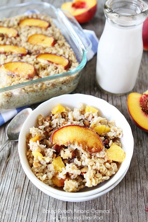 Baked Peach Almond Oatmeal from Two Peas and Their Pod on foodiecrush.com