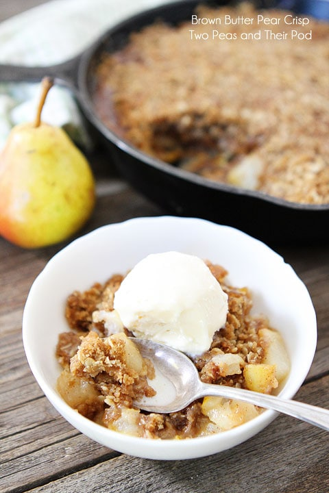 Brown Butter Pear Crisp Recipe on twopeasandtheirpod.com A great dessert for fall!