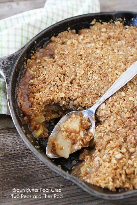 Brown Butter Pear Crisp on twopeasandtheirpod.com #recipe