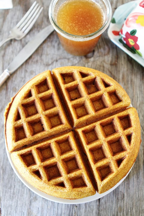 Brown Butter Pumpkin Waffle Recipe on twopeasandtheirpod.com #recipe