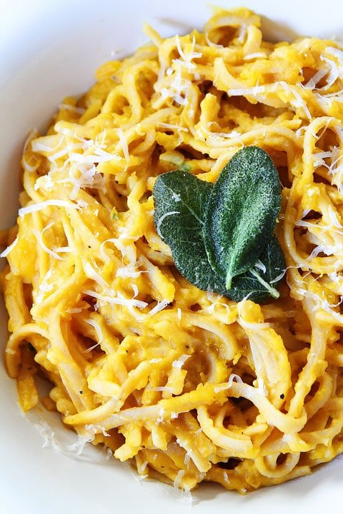 Creamy Butternut Squash Pasta Recipe from twopeasandtheirpod.com A comforting and healthy pasta recipe!