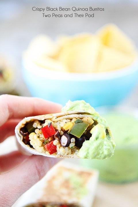 Easy Crispy Black Bean Quinoa Burritos with Avocado Dipping Sauce on twopeasandtheirpod.com #recipe