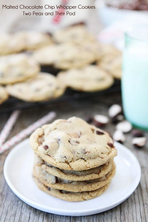 Malted Chocolate Chip Whopper Cookie Recipe on twopeasandtheirpod.com #recipe #cookies